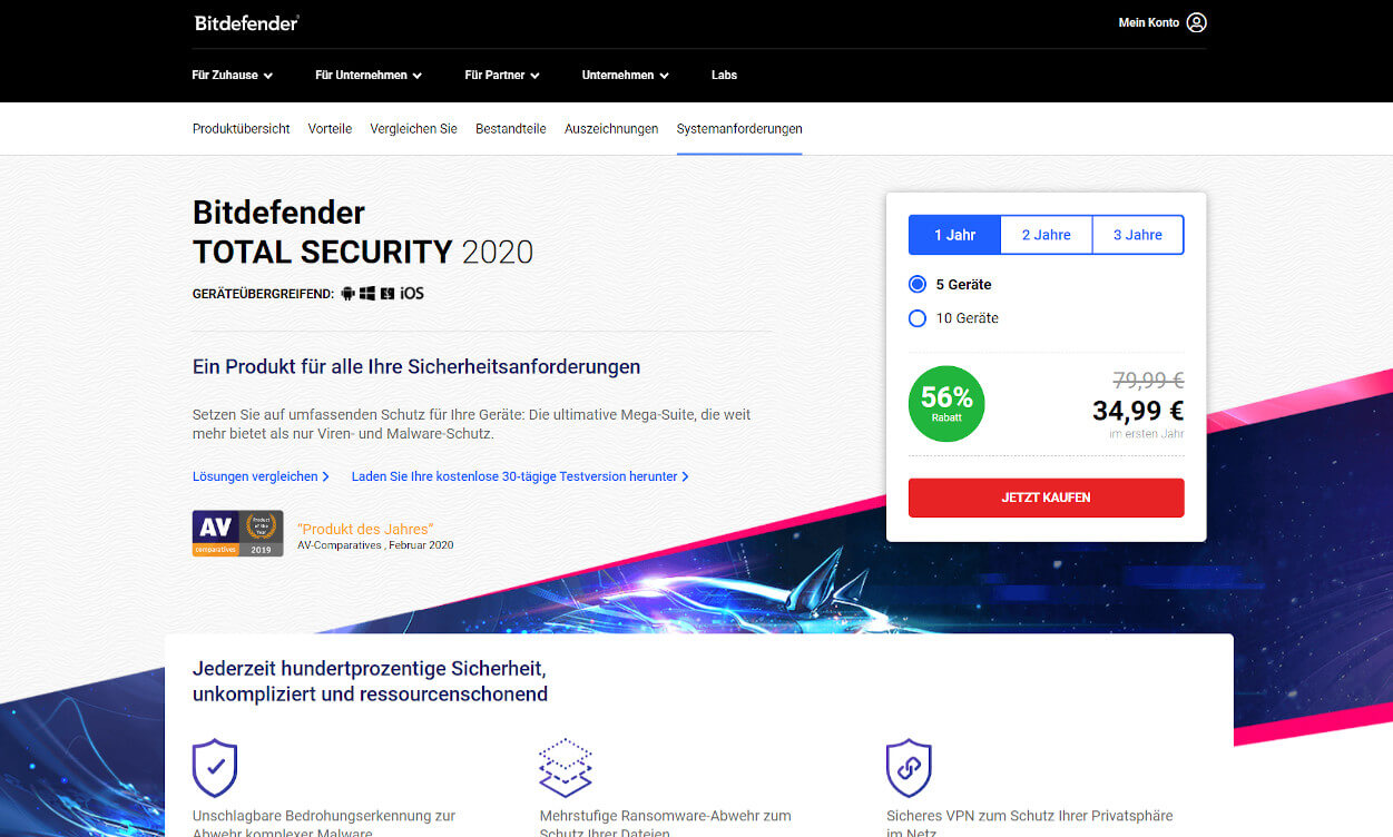 Bitdefender Total Security Test 2020.