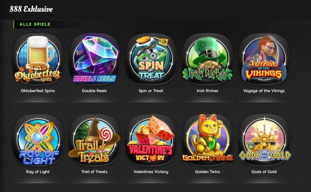 Eine exklusive Automatenauswahl wartet bei 888 Slots.