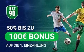 bet90 Sportwetten Bonus von 50% bis zu 100€ erhalten.