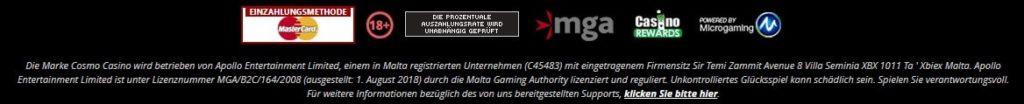 Cosmo Casino allgemeine Informationen