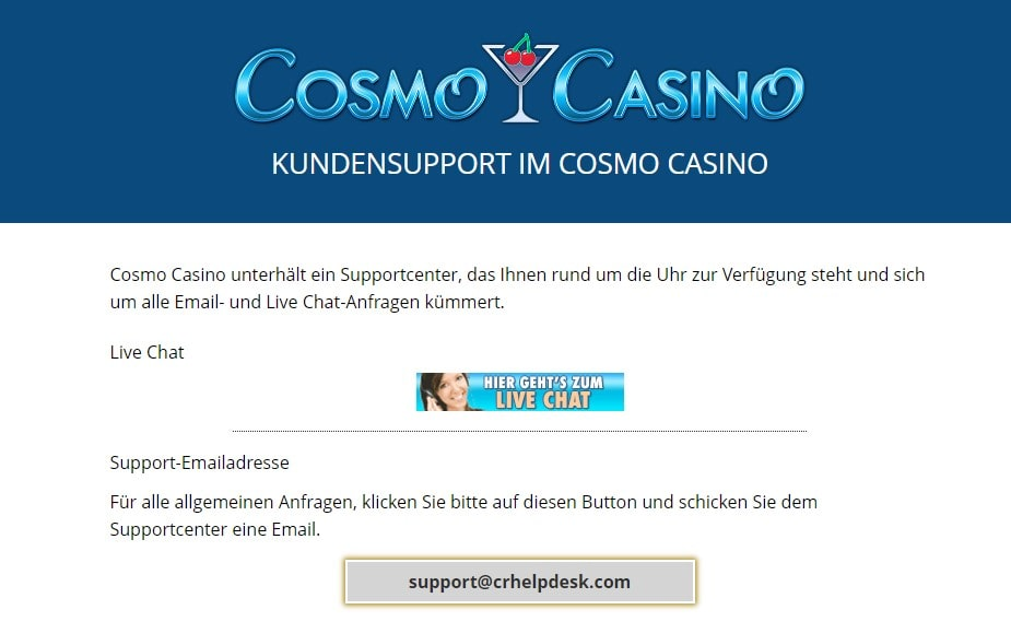 Cosmo Casino Kontakt