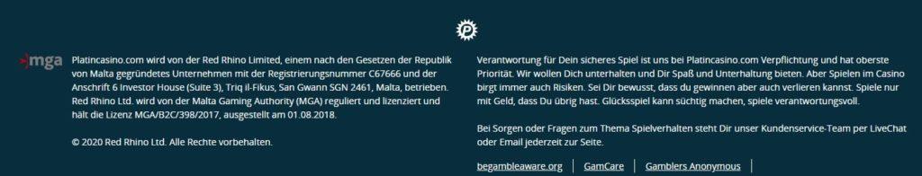 Platin Casino allgemeine Informationen