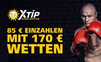 x-tip Sportwetten Bonus von 85€ einzahlen und mit 170€ wetten.