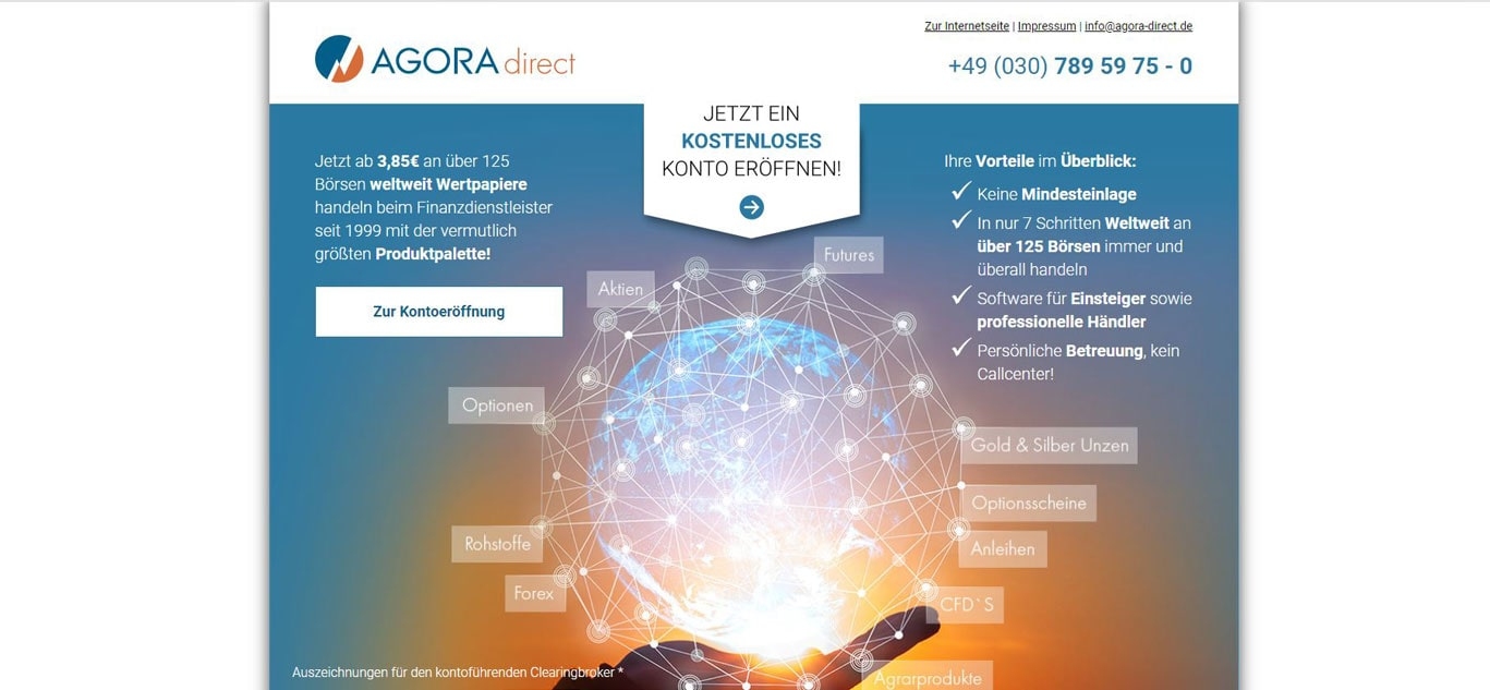 Tradingplattform des bekannten Brokers Agora direct.