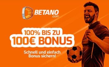 betano Sportwetten Bonus von 100% bis zu 100€ erhalten.