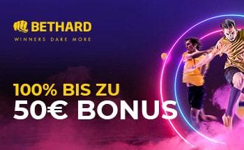 bethard Sportwetten Bonus von 100% bis zu 50€ erhalten.