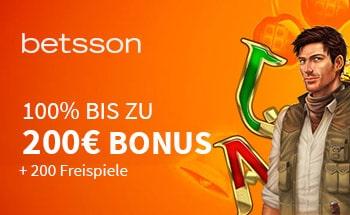 betsson Casino Bonus von 100% bis zu 200€ + 200 Freispiele erhalten.