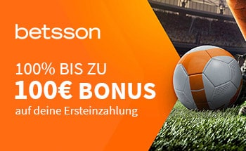 betsson Sportwetten Bonus von 100% bis zu 100€ erhalten.