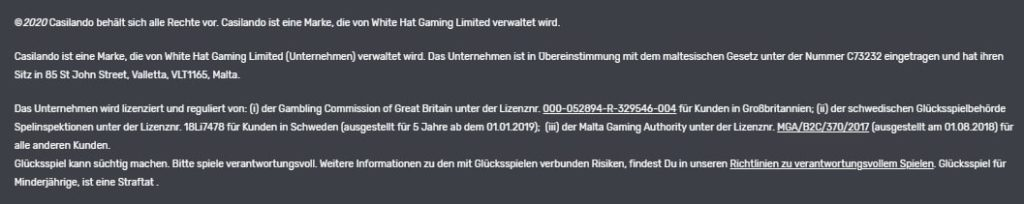 Casilando Casino Informationen