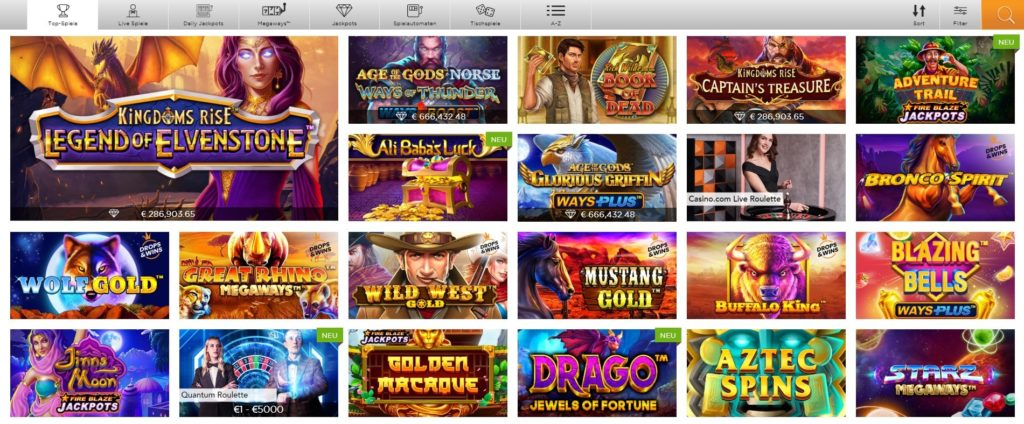 Casino.com Spielangebot
