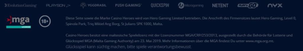 Casino Heroes allgemeine Informationen