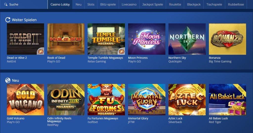 Casino Heroes Spielauswahl
