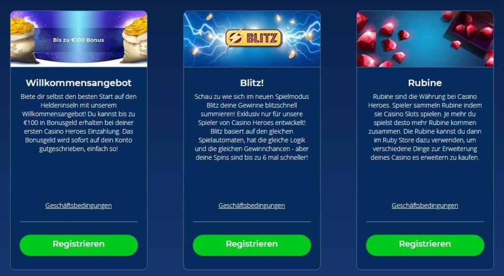 Casino Heroes weitere Bonusangebote