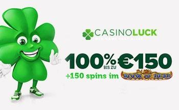 Casino Luck Bonus von 100% bis zu 150€ + 150 Freispiele erhalten.