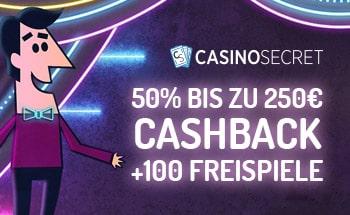 Casino Secret Bonus von 50% bis zu 250€ + 100 Freispiele erhalten.