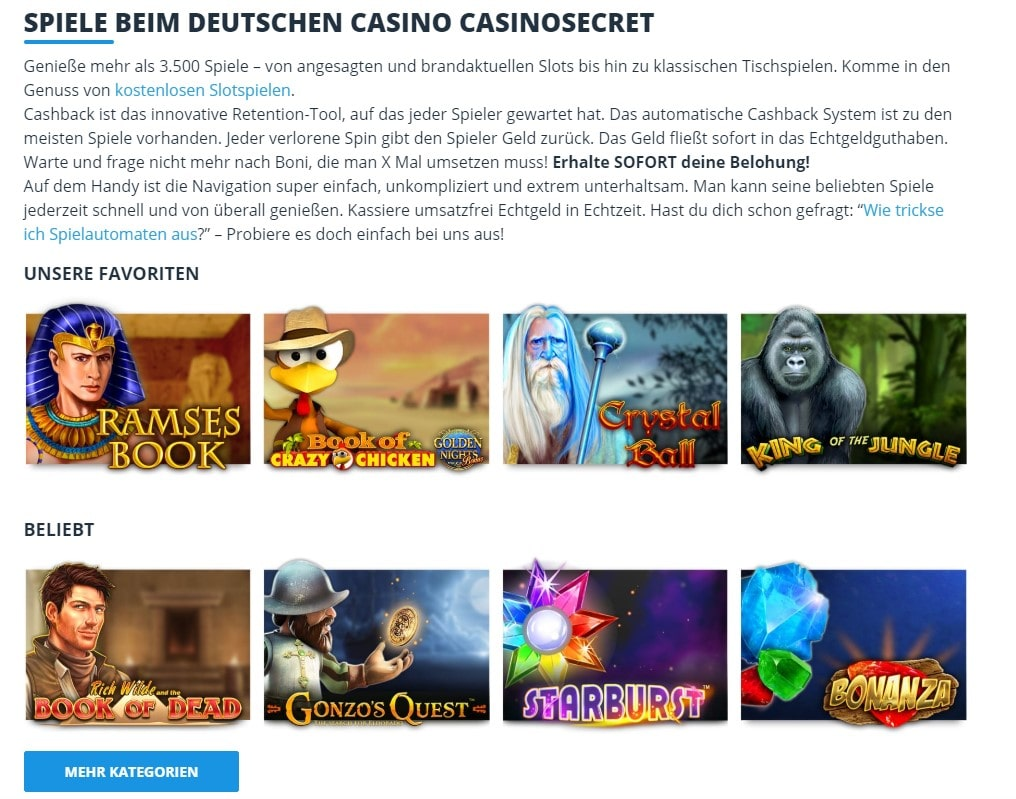 Casino Secret Spielangebot