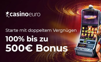 casinoeuro Casino Bonus von 100% bis zu 500€ erhalten.
