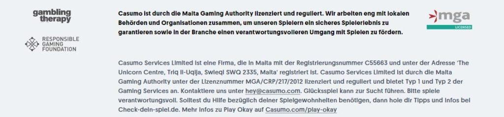Casumo Casino allgemeine Informationen