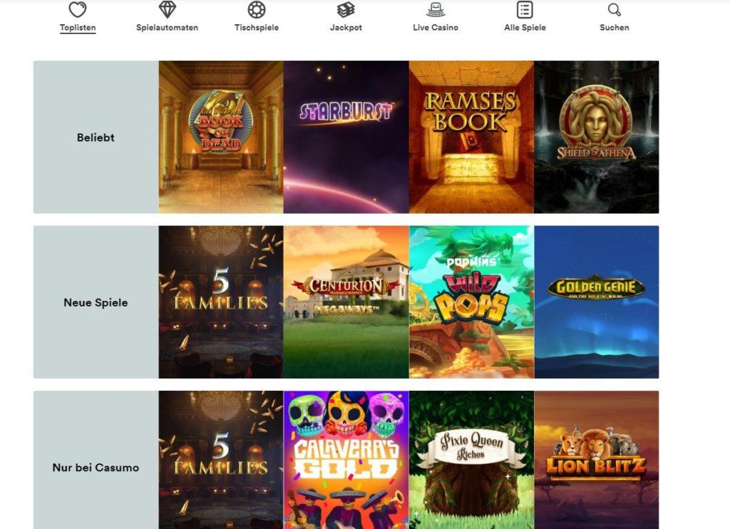 Casumo Casino Spielangebot