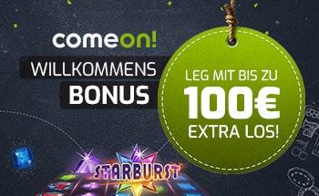 comeon Casino Bonus von bis zu 100€ erhalten