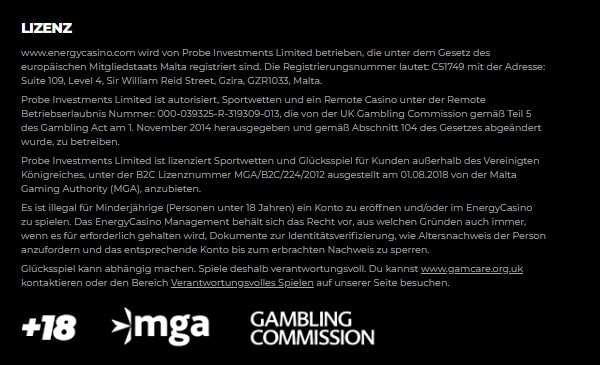 Energy Casino allgemeine Informationen