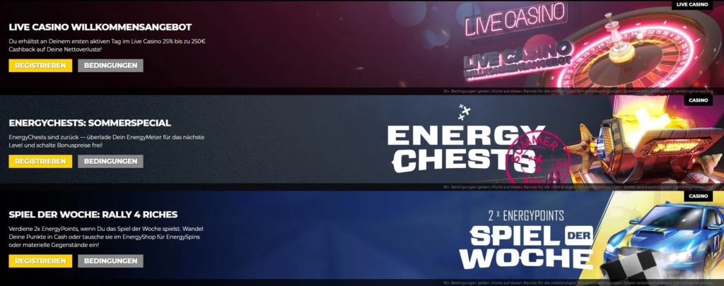 Energy Casino weitere Bonusangebote