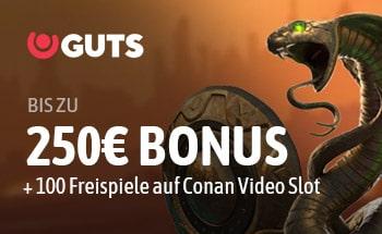 guts Casino Bonus von bis zu 250€ + 100 Freispiele erhalten.