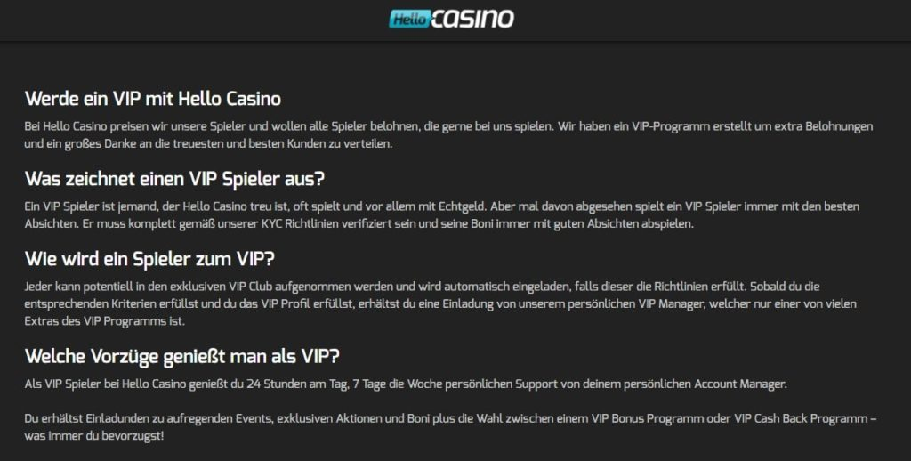 Hello Casino VIP-Programm