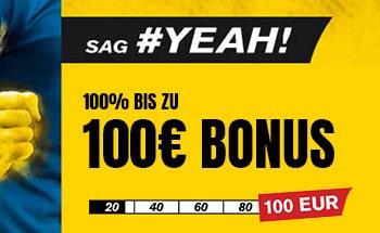 interwetten Sportwetten Bonus von 100% bis zu 100€ erhalten.