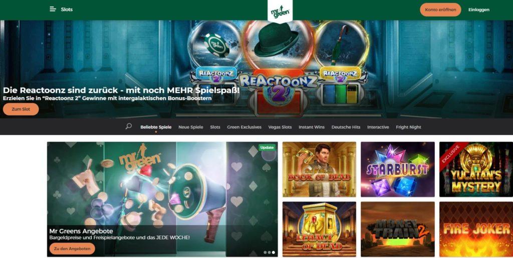Mr Green Webseitenansicht