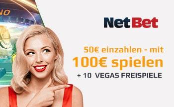 netbet casino Bonus von 50€ einzahlen mit 100€ spielen + 10 Freispiele erhalten.