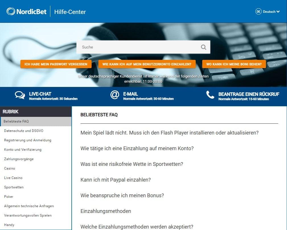 Nordicbet Kundenservice
