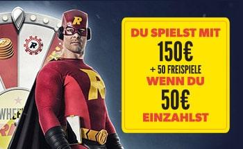 rizk casino Bonus von 50€ einzahlen und spiele mit 150€ + 50 Freispiele.