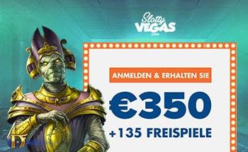 slotty vegas Bonus von 350€ + 135 Freispiele erhalten.