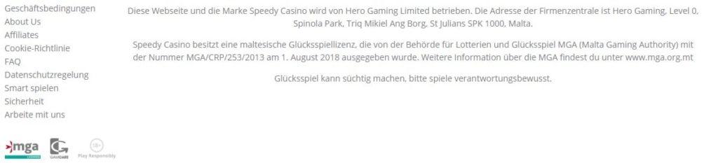 Speedy Casino Allgemeine Information