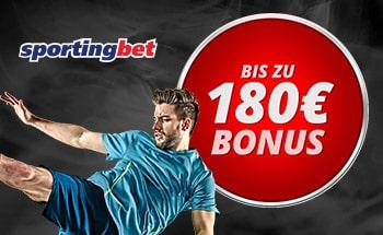 sportingbet Bonus von bis zu 180€ erhalten.