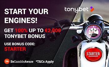 tonybet Poker Bonus von 100% bis zu 2000€ erhalten.