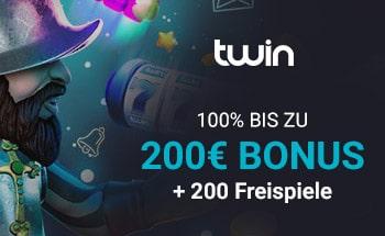 twin Casino Bonus von 100% bis zu 200€ + 200 Freispiele erhalten.
