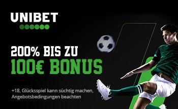 unibet Sportwetten Bonus von 200% bis zu 100€ erhalten.