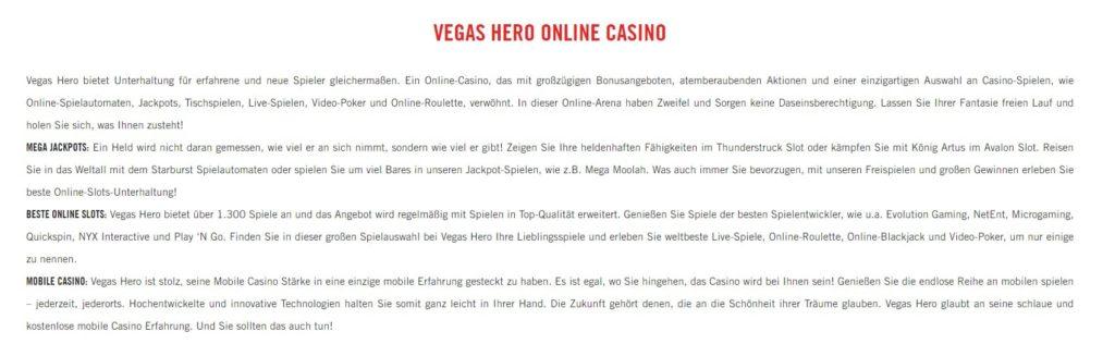 Vegas Hero allgemeine Informationen