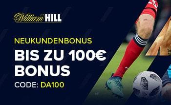 william hill Sportwetten Bonus von bis zu 100€ erhalten.