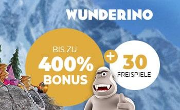 wunderino Casino Bonus von bis zu 400% + 30 Freispiele erhalten.