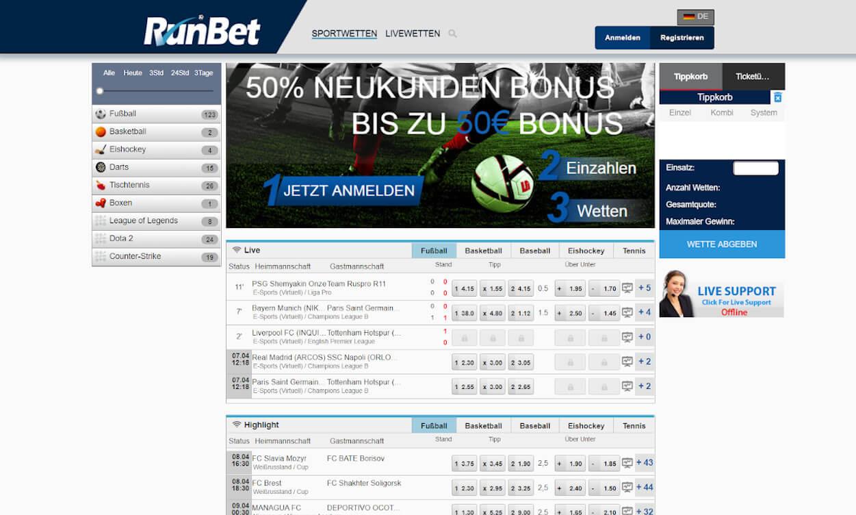 RunBet Sportwetten Webseiten Test 2020.