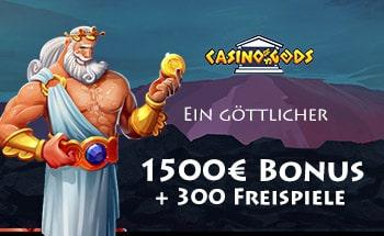Casino Gods Bonus von 1500€ + 300 Freispiele erhalten.