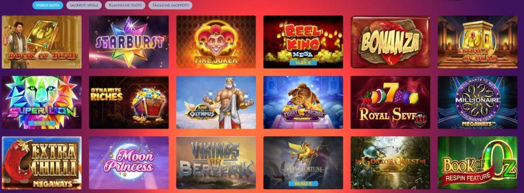 Casino Gods Spielauswahl
