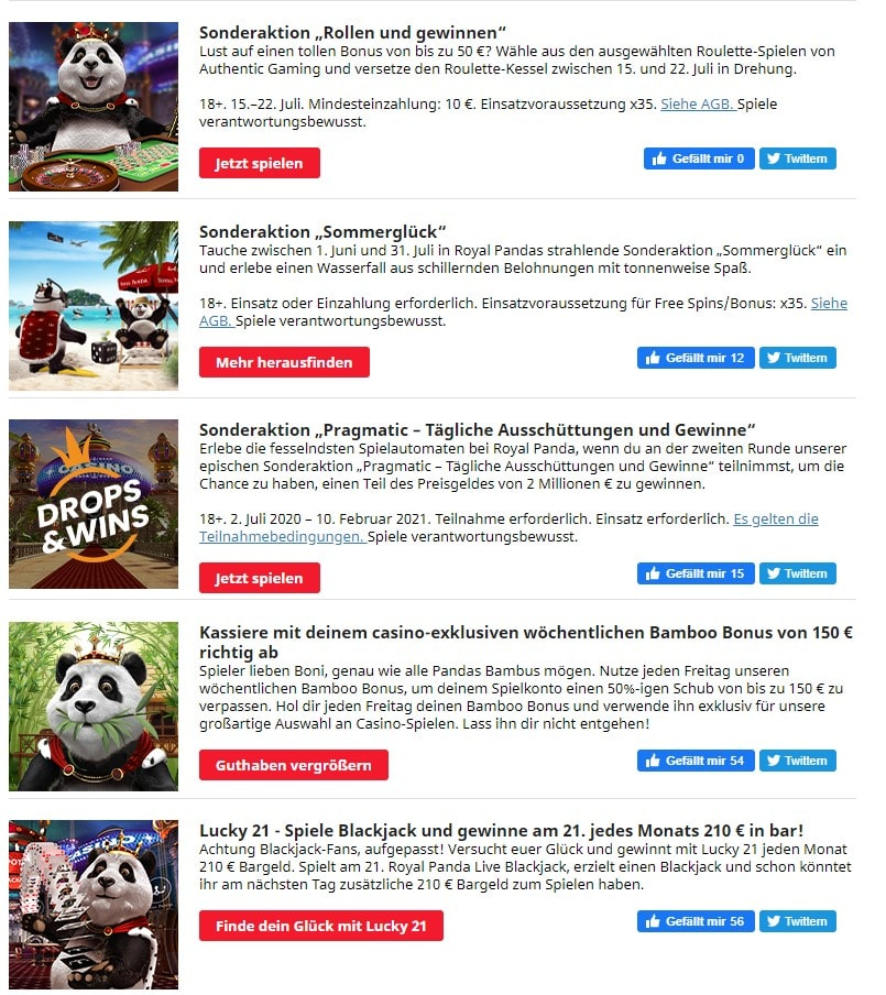 Royal Panda Casino Bonusangebote