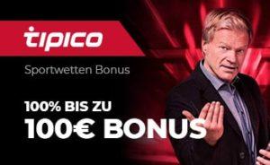 tipico sportwetten Bonus von 100% bis zu 100€ erhalten.