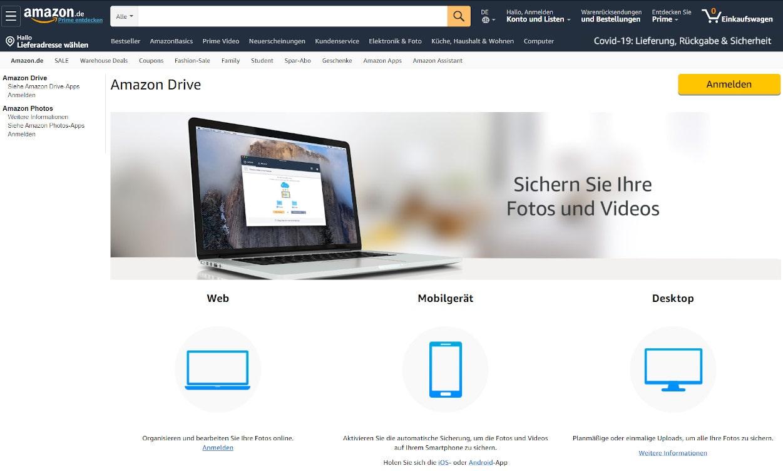 Amazon Drive Cloud Speicher Webseiten Test 2020.