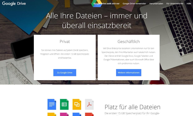 Google Drive Cloud Speicher Webseiten Test 2020.
