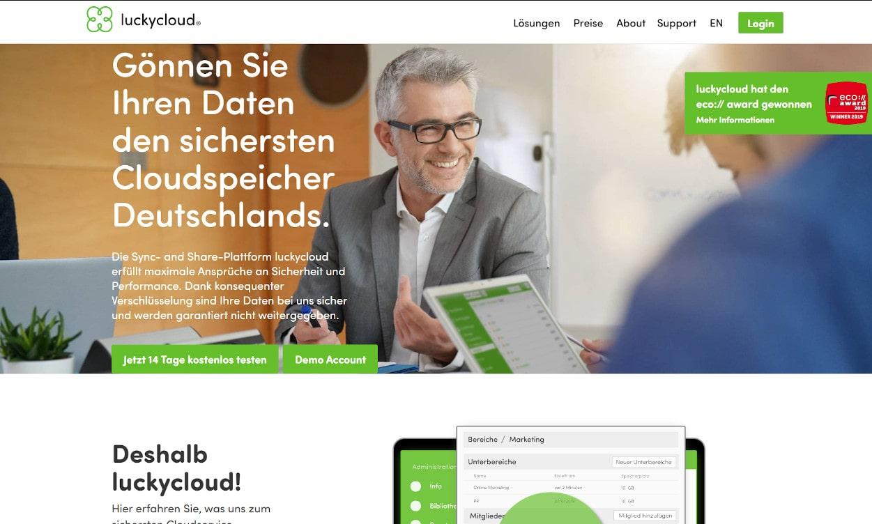 Luckycloud Cloud Speicher Webseiten Test 2020.